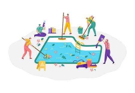 Pool maintenance, group of people in uniform is cleaning and taking care of swimming pool, cheerful workers with equipment are busy with work - test water, collect leaves, sweep the floor, flat vector Stock Illustratie