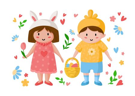 Cartoon boy and girl on Easter Day, happy kids in holiday costumes of cross and chicken with easter eggs and flowers, isolated objects on white, ideal for postcards, prints, posters - vector