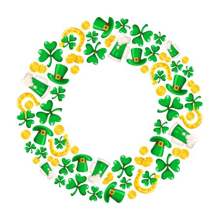 Saint Patricks Day frame - cartoon round compositon with shamrcock or clover leaves, golden coins, bowler hat, horseshoe and beer cup, traditional folk holiday symbols or festive decorations, vector Stock Illustratie