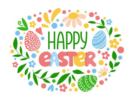 Easter lettering - composition with handwritten text and decor, flowers, easter eggs, green leaves, spring symbols in roucnd shape on white background, vector for greeting card, invitation, print Stock Illustratie