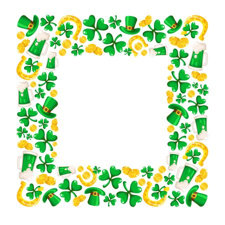 Saint Patricks Day frame - cartoon square compositon with shamrcock or clover leaves, golden coins, bowler hat, horseshoe and beer cup, traditional folk holiday symbols or festive decorations, vector