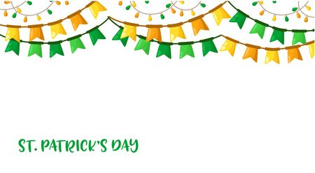 Saint Patricks Day seamless border frame - cartoon ccccolorful flags, lights garland, party deccor, border pattern on white background with text place, traditional holiday festive decorations, vector