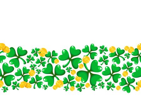 Saint Patricks Day seamless border frame - cartoon shamrock or clover leaves and golden coins, border pattern on white background, traditional folk holiday symbols or festive decorations, vector