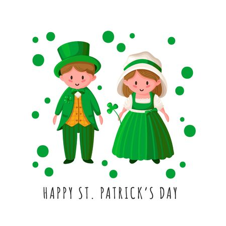 Saint Patricks Day cartoon couple - boy and girl in green retro costumes, cute kawaii irish people or holiday characters for greeting card, print, poster template - vector illustration