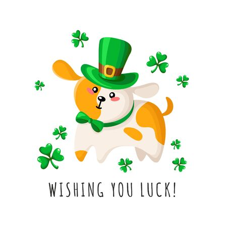 Saint Patricks Day cartoon cute dog or puppy in green bowler hat and bow tie, shamrock or clover leaves, funny domestic animal or pet in festive costume, vector greeting card, poster, print template