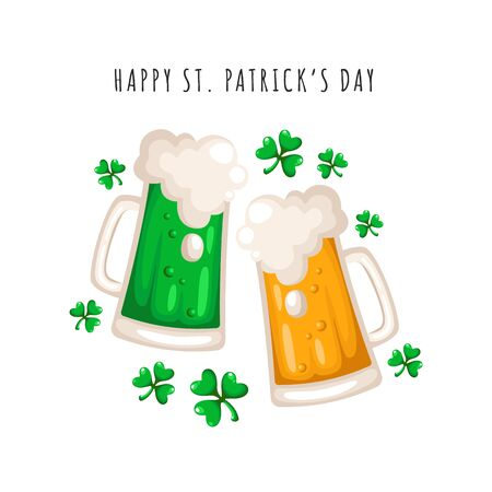 Saint Patricks Day cartoon beer or ale cup, drinking glasses with alcohol, traditional party beverage and shamrock leaves, folk holiday festive decorations - vector greeting card pr poter template