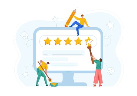 Client feedback concept - people painting rating stars on computer screen, online service evaluation, customers review, flat modern tiny men and women with huge monitor and feedback stars - Vector
