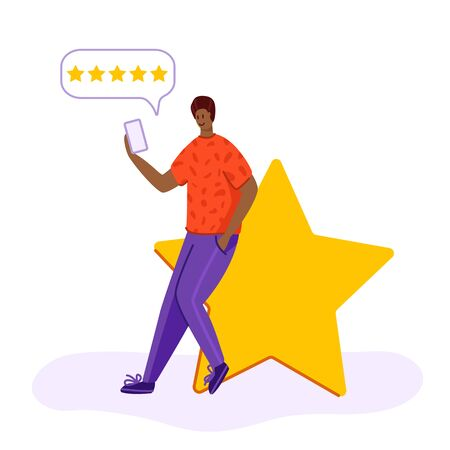 Client feedback or review concept, american guy sitting and giving feedback in mobile app, online service evaluation, happy customer with gadget, flat tiny people and huge rating star, Vector
