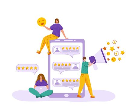 Client feedback concept, tiny people send customers review and feedback, man with bullhorn, online service evaluation. flat modern caracters and huge computer monitor, rank and rating stars, Vector
