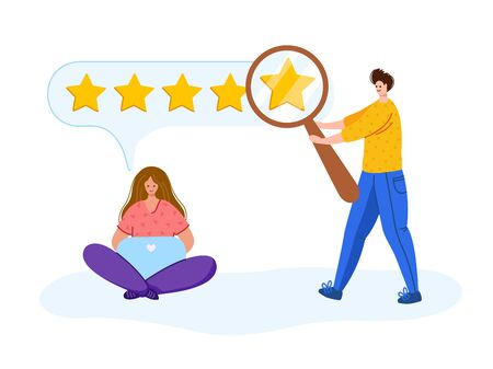 Client feedback - people with laptop, magnifying glass searching feedback, customers review concept or online service evaluation, happy people with gadgets, flat modern people and rating stars, Vector Stock Illustratie