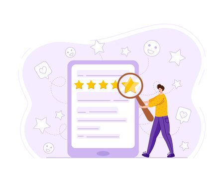 Client feedback concept and online service evaluation, happy customers review. Tiny man with giant magnifying glass, computer monitor with rank and rating scale stars, modern funny flat people, Vector