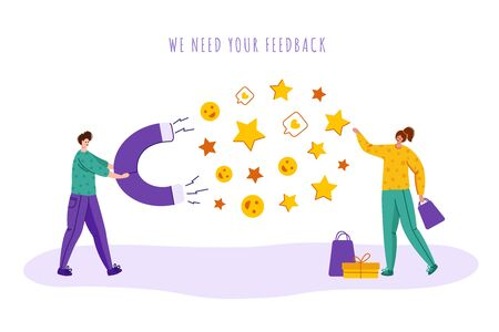 Client feedback or review concept, happy girl customer sending feedback to man with giant magnet, online service evaluation, flat tiny people, characters and rating stars, likes, smiles, Vector Stock Illustratie
