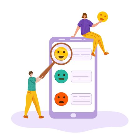 Client feedback concept, man and girl with magnifying glass show happy smile, customers review and feedbacks, online service evaluation. flat tiny people and giant phone screen, smiles - Vector