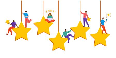 Client feedback or review concept, flat tiny people sitting on huge stars, happy customers, rank and rating scale stars, online service evaluation, group of men and women with their feedback, Vector