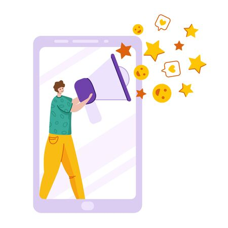 Client feedback concept, man with speaking trumpet, stars, likes - customers review and feedback, online service evaluation. flat tiny people and huge computer monitor, rank and rating stars, Vector