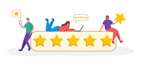 People with gadgets and stars - Client feedback or review concept, online service evaluation, young men and women and giant rating stars, flat tiny people and objects, trendy characters, Vector banner Vectores