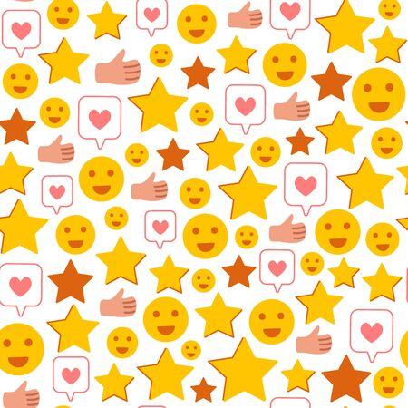 Rating stars, likes, happy smiles, thumb - Client feedback or review seamles pattern, online service evaluation, customers feedback concept, flat funny objects on white background, Vector pattern