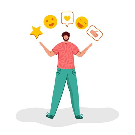 Client feedback or review concept, happy beard guy holding stars, smiles, likes and giving feedback, online service evaluation for customers, flat people and rating star, Vector