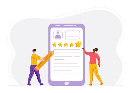 Client feedback concept, african american women and man with pencil, customers review and feedback, online service evaluation. flat modern tiny people and huge phone screen and rating stars, Vector