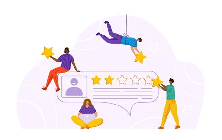Tiny girs, men and clients profile - feedback or review concept and online service evaluation, happy customers with huge stars, flat people or characters and giant rating stars, Vector banner