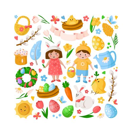 Cartoon Easter Day, kids boy girl in costumes, easter eggs, spring flowers, rabbit, chiken, willow branch, floral wreath, tulips, cake, isolated on white for cards, print, your designs - vector