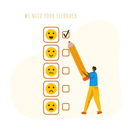 Client feedback concept, man with giant pencil put a tick opposite happy smile, customers review and feedbacks, online service evaluation. flat tiny guy and emotional smiles - Vector