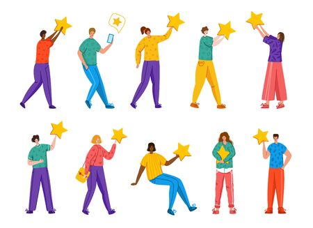 People with stars - Client feedback or review concept, online service evaluation, happy customers and their feedback, flat modern people and rating stars, smiles, likes, men and women, Vector