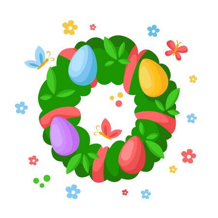 Cartoon Easter Day - green floral wreath with leaves and easter eggs, spring fresh bouquet, kids holiday illustration isolated on white, ideal for cute greeting postcards, prints, posters - vector