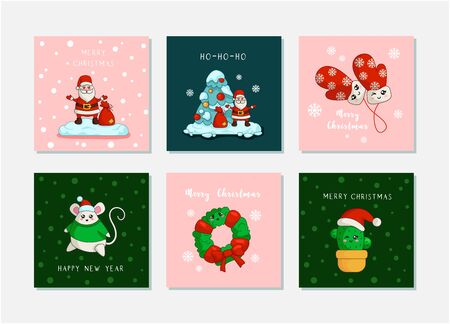 Santa Claus, Christmas tree, New year fat mouse, mittens, cactus, wreath - vector Kawaii Christmas greeting cards set with cute cartoon winter characters, et of prints or posters for Cristmas objects