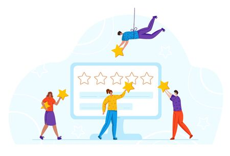 Tiny girs, men and screen - client feedback or review concept and online service evaluation, happy customers with huge stars, flat people and giant computer monitor with rating stars, Vector Stock Illustratie