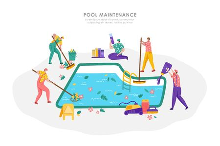 Pool maintenance or cleaning service, group of people in uniform is cleaning and taking care of swimming pool, workers with equipment - test water, collect leaves, sweep the floor, flat vector