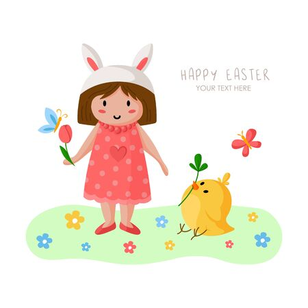 Cartoon girl on Easter Day, happy kid in holiday rabbit costume and pink dress, flowers and chicken on green spring medow, cute cartoon greeting card, poster, print - vector illustration