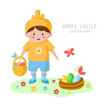 Cartoon little boy on Easter Day, happy kid in holiday chicken costume, flowers, butterfly and bird nest on green spring medow, cute cartoon character, greeting card, poster, print - vector