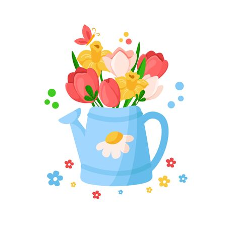 Cartoon Easter Day - blue watering can with leaves and spring flowers, floral bouquet - tulip, narcissus, daffodil, holiday illustration isolated on white, ideal for greeting cards, posters - vector