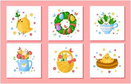 Cartoon Easter Day spring flowers set - tulips, daffodil, narcissus, chiken, willow branch, floral wreath, rabbit, ready vector greeting cards or posters set, holiday decor