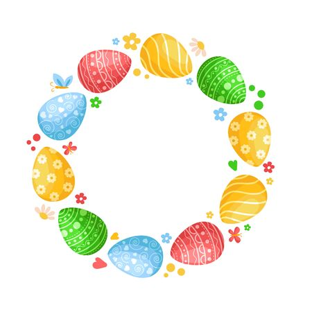 Cartoon Easter Day, round frame or set of decorated colorful easter eggs isolated on white background, pink, green, yellow and blue eggs witn ornament, ideal for postcards, prints, patterns - vector Stock Illustratie