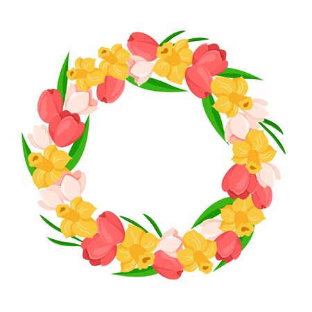 Cartoon Easter Day - floral easter wreath or spring flowers frame with tulip, daffodil, green leaves, floral bouquet isolated on white, ideal for cute greeting postcards, prints, posters - vector