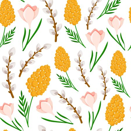 Easter Day - seamless pattern spring flowers on white background, floral ornament - mimosa, snowdrop, willow branch, background or endless texture for textile, wrapping or scrapbooking paper - vector