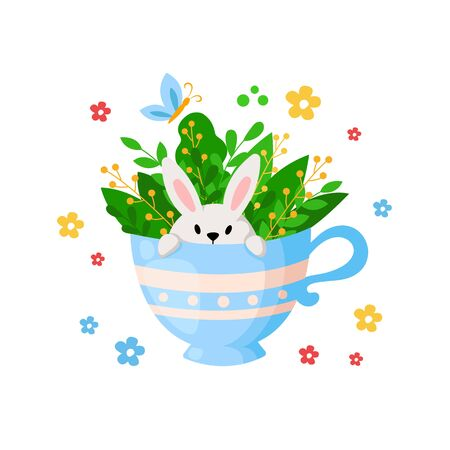 Cartoon Easter Day - funny rabbit in tea cup with leaves and spring flowers, floral bouquet, kids holiday illustration isolated on white, ideal for cute greeting postcards, prints, posters - vector Stock Illustratie
