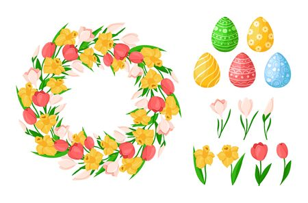 Easter Day flowers - yellow daffodil, pink tulip, snowdrop - floral wreath or round frame and isolated items easter eggs, flowers on white - vector set for holiday design