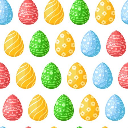 Easter Day - seamless pattern with easter eggs on white background, colorful background or endless texture for textile decoration, ideal for fabric print, wrapping or scrapbooking paper - vector