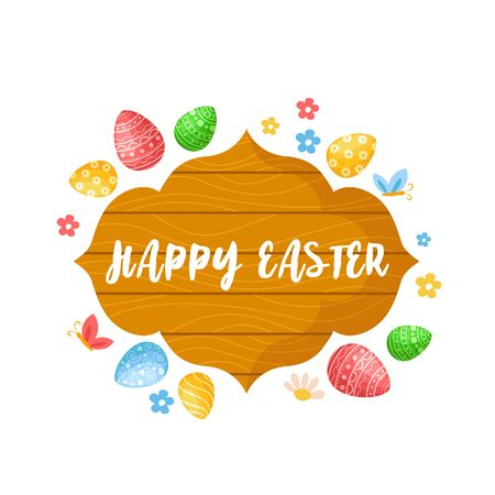 Cartoon Easter Day - wooden tablet or sign with text, easter eggs and spring flowers, kids holiday composition isolated on white, ideal for cute greeting postcards, prints, posters - vector