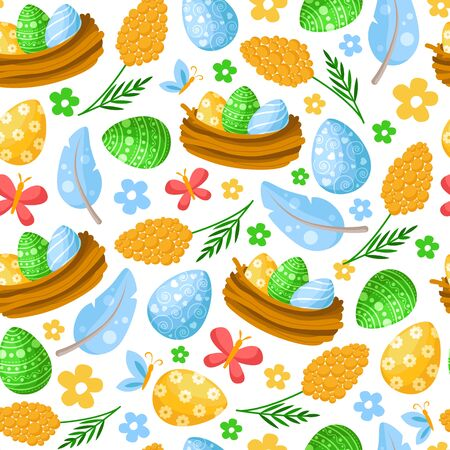 Easter Day - seamless pattern with easter eggs, feathers, mimosa flower, nest and butterfly on white, background or endless texture for textile, fabric, wrapping or scrapbooking paper - vector