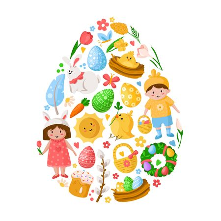 Cartoon Easter Day kids boy and girl, easter eggs, spring flowers, rabbit, chiken, willow branch, floral wreath, sun, tulips, cake, egg shape composition for cards, print, your designs - vector Stock Illustratie
