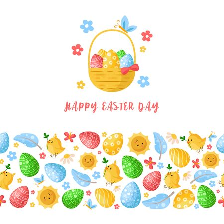 Easter Day - seamless border pattern with easter eggs, chickens, flowers, feathers on white, ornamented endless bordure and greeting card, fabric print, wrapping or scrapbooking paper - vector Stock Illustratie