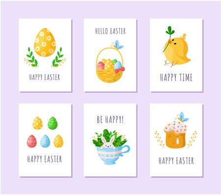 Easter Day eggs, little cartoon chicken, sweet cake, happy cute rabbit in tea cup, wooden basket with easter eggs, green branches, ready vector greeting cards or posters set, holiday decor Stock Illustratie