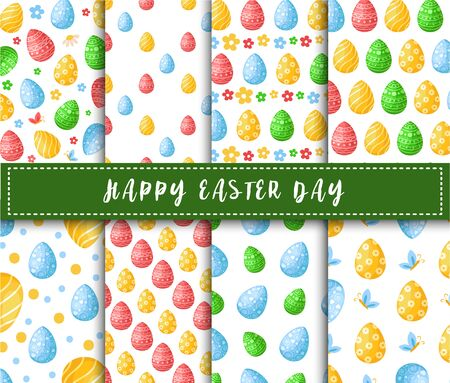 Easter Day - seamless pattern with easter eggs, flowers and butterfly on white background, colorful background or endless texture for textile decoration, fabric, wrapping, scrapbooking paper - vector Stock Illustratie