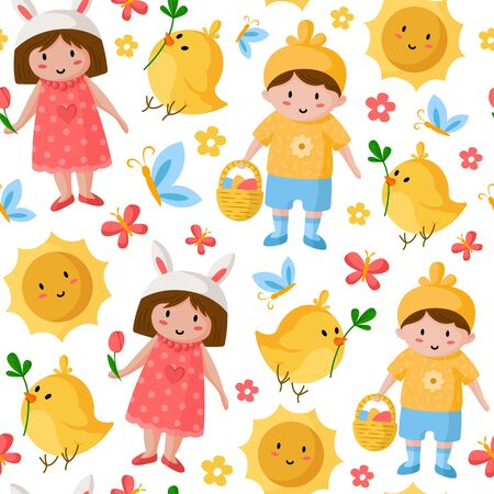 Easter Day - seamless pattern with cartoon kids - boy, girl, easter chicken, spring flowers on white, holiday background or endless texture for textile, fabric, wrapping or scrapbooking paper - vector