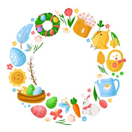 Cartoon Easter Day round frame or circle, easter eggs, spring flowers, rabbit, chiken, willow branch, floral wreath, tulips, cake, isolated on white for cards, print, your designs - vector