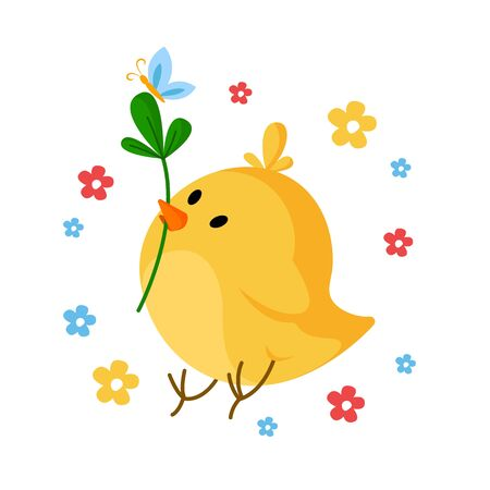 Cartoon Easter Day - little chicken witn green leaf and spring flowers, cute cartoon kids holiday illustration, isolated character on white, ideal for greeting postcards, prints, posters - vector